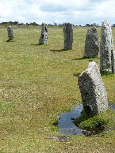 Stone circles in Bodmin Moor in Cornwall are shown here