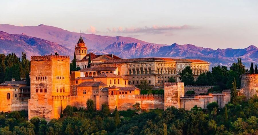 Alhambra a word heritage site in Granada Spain is photographed here at dusk