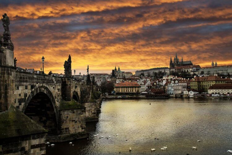 Prague at sunset is seen here