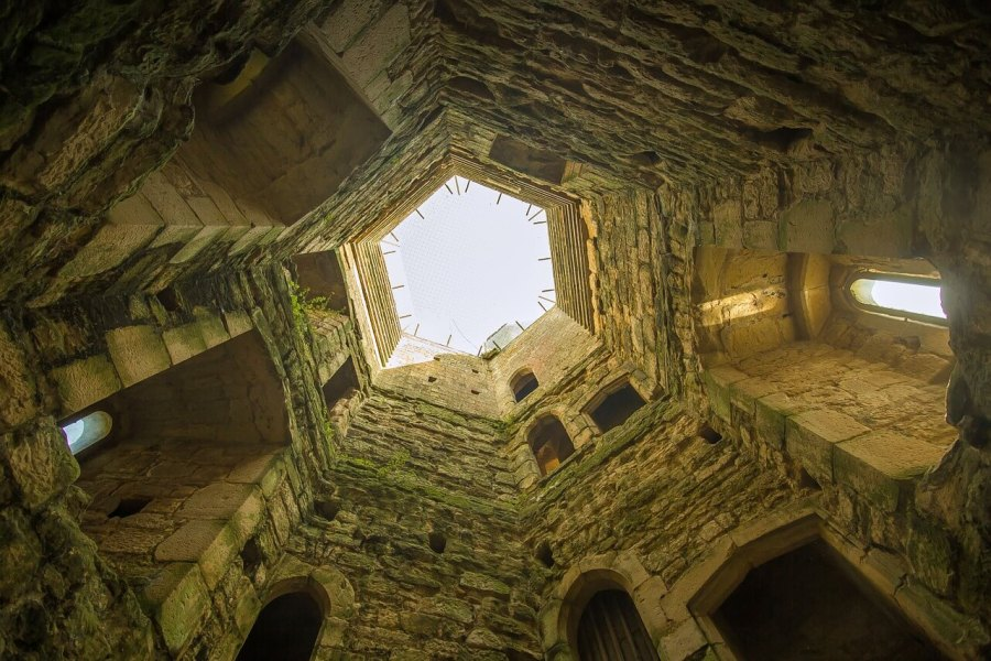 The inside of Bodiam Castle