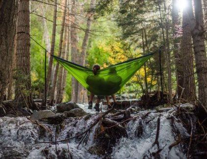 A couple of travelers on a hammock