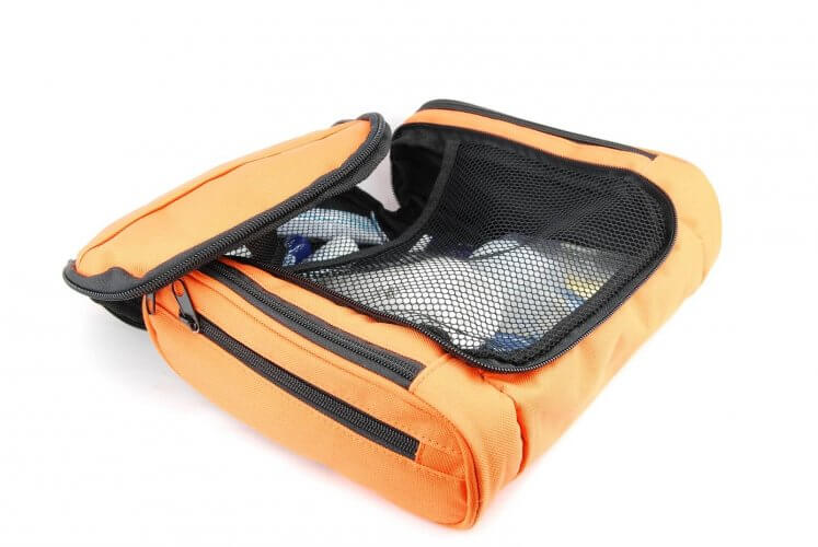 An image of an orange toiletry organizer
