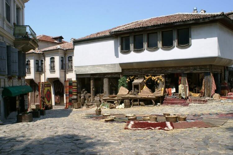 An image of the bazaar in the old town in Plovdiv bulgaria