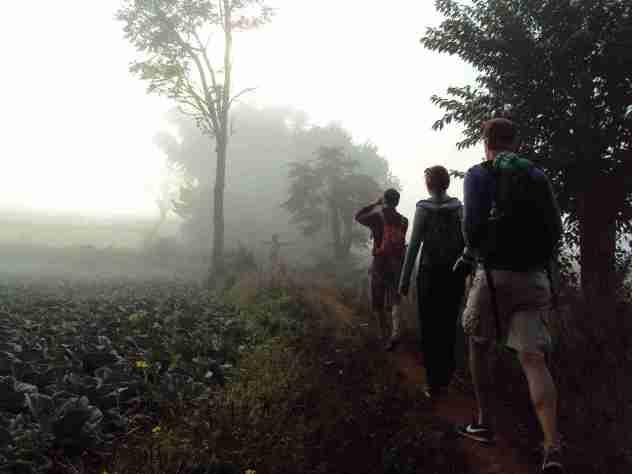 Wanderung durch den nebligen Morgen
