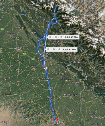 Reise von Manali nach Delhi