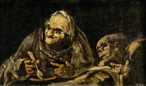 "Francisco Jose de Goya-y Lucientes, ""Two Old Men Eating,"" 1819-1823, exemplifies Goya's use of the grotesque to interrogate broad human concerns within specific historical and social conditions, even in the ""black"" period that suggests suppression of all context."