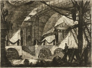 "[Giovanni Battista] Piranesi, long before M.C. Escher picked up a   pencil, joined his contemporaries in contemplating Gothic ruins, and haunted geometries began to emerge, as in ""The Sawhorse,"" 1761."