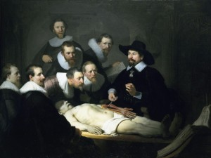 "Important for anyone with horrors of body snatchers,  Rembrandt [Harmensz van Rijn]'s ""The Anatomy Lesson [of Dr, Nicolaes Tulp],"" 1632, is required viewing."
