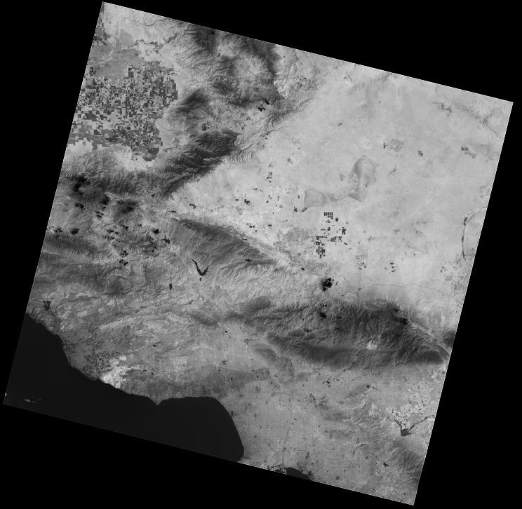 Pandangan inframerah termal dari Los Angeles dari Landsat 8