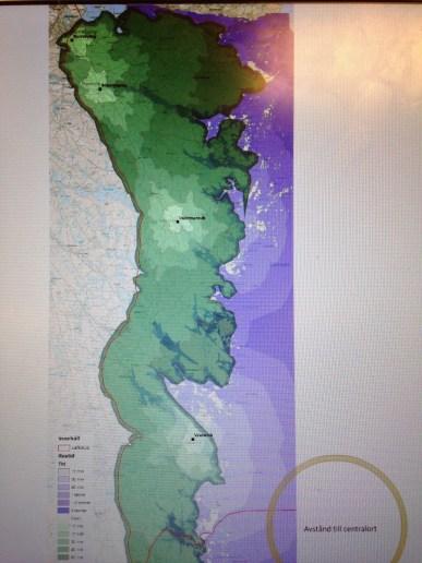 En av karterna i materialet - just denna visar