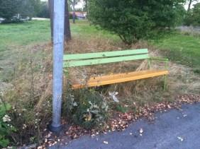 parkbänk i det gröna, kan ju vara trevligt. Men kanske ska den inte stå i höggräset.