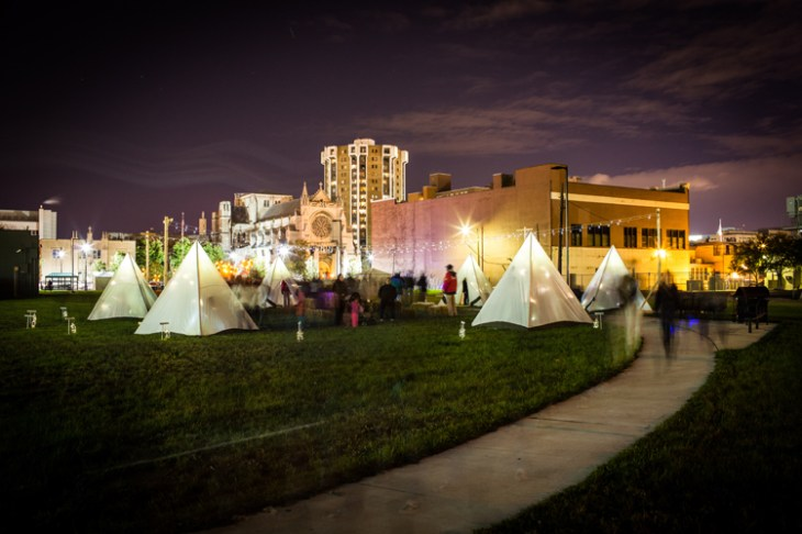 Frontier Town: A Tent Camp for Children in the Urban Wild D MET Design (Elizabeth Skrisson and Joel Schmidt) in collaboration with Sarah Lapinski. Photo Credit:  David Lewinski