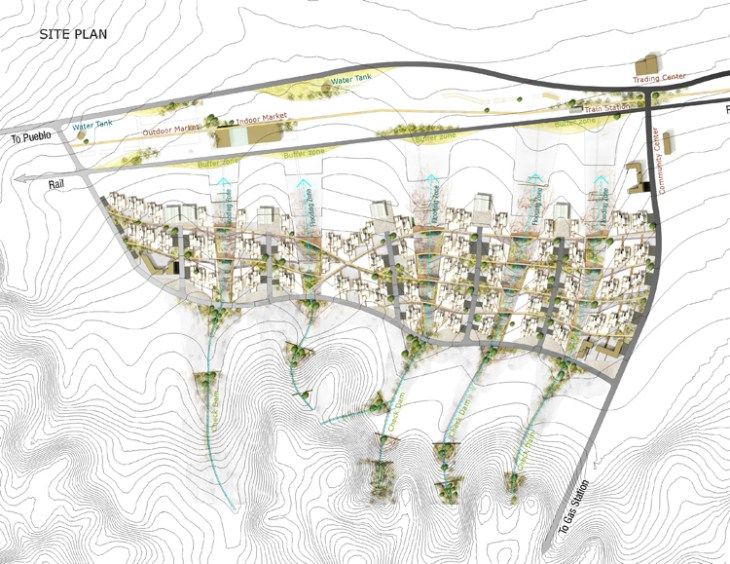 Residential Design, Award of Excellence: Yitian Zhao and Siyu Tian, University of Pennsylvania. Paths of Life site plan.