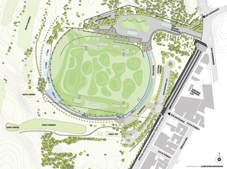 The new driving range has been set back into the preexisting Mosholu Golf Course in Van Cortlandt Park, but it is separated by a moat and walls. Credit: Grimshaw.