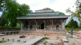The pools around the black pavilion at Shalimar, awaiting restoration, May 2013.
