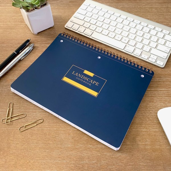 Landscape Notebook Navy Blue Angled