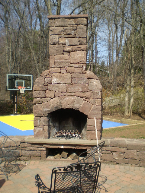 Outdoor Brownstone Fireplace
