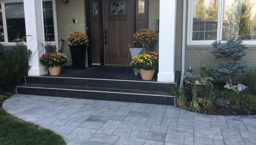 Front Step Ideas Chinook Landscaping Calgary | House Front Step Design | Aspen Designer Home | Simple | Mansion | Curved | Entrance Home
