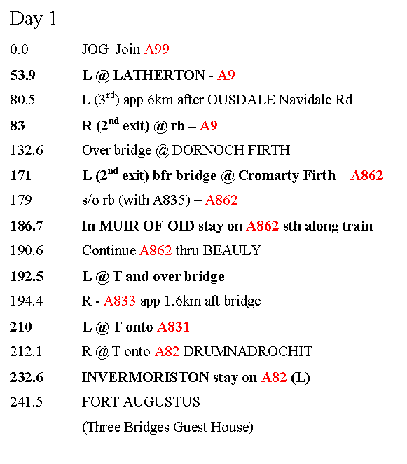 Image - Day One Five Route Sheet for Lands End to John O'Groats Guide Appendix 1