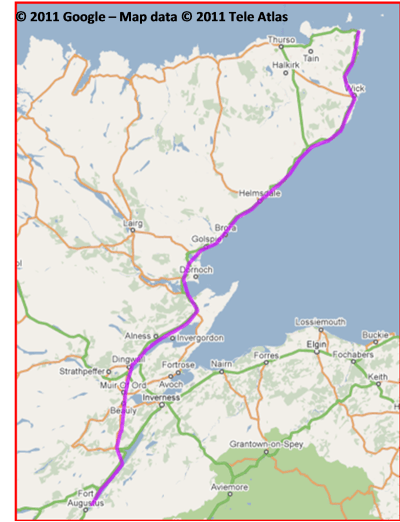 Image - Map of Day One for Lands End to John O'Groats - My End to End