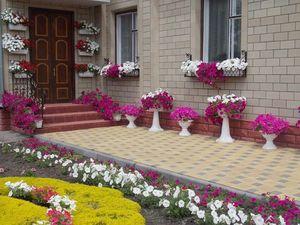 дизайн клумбы во дворе частного дома фото 1