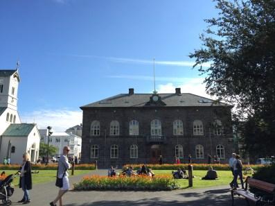 Alþingishúsið: the parliament building on Austurvöllur square