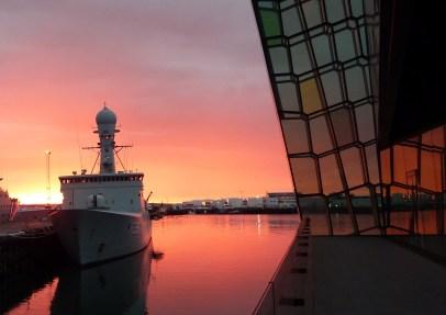 harpa harbor sunset landscape