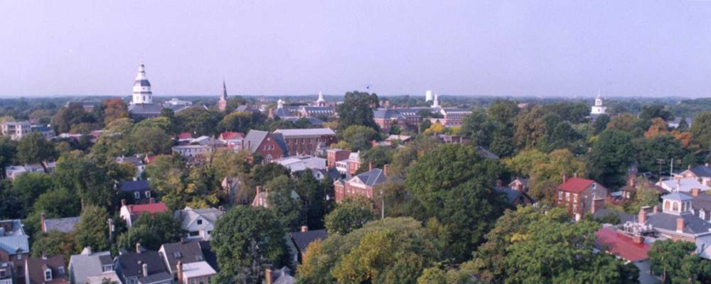 Westward View of Annapolis from the Navy Chapel Dome