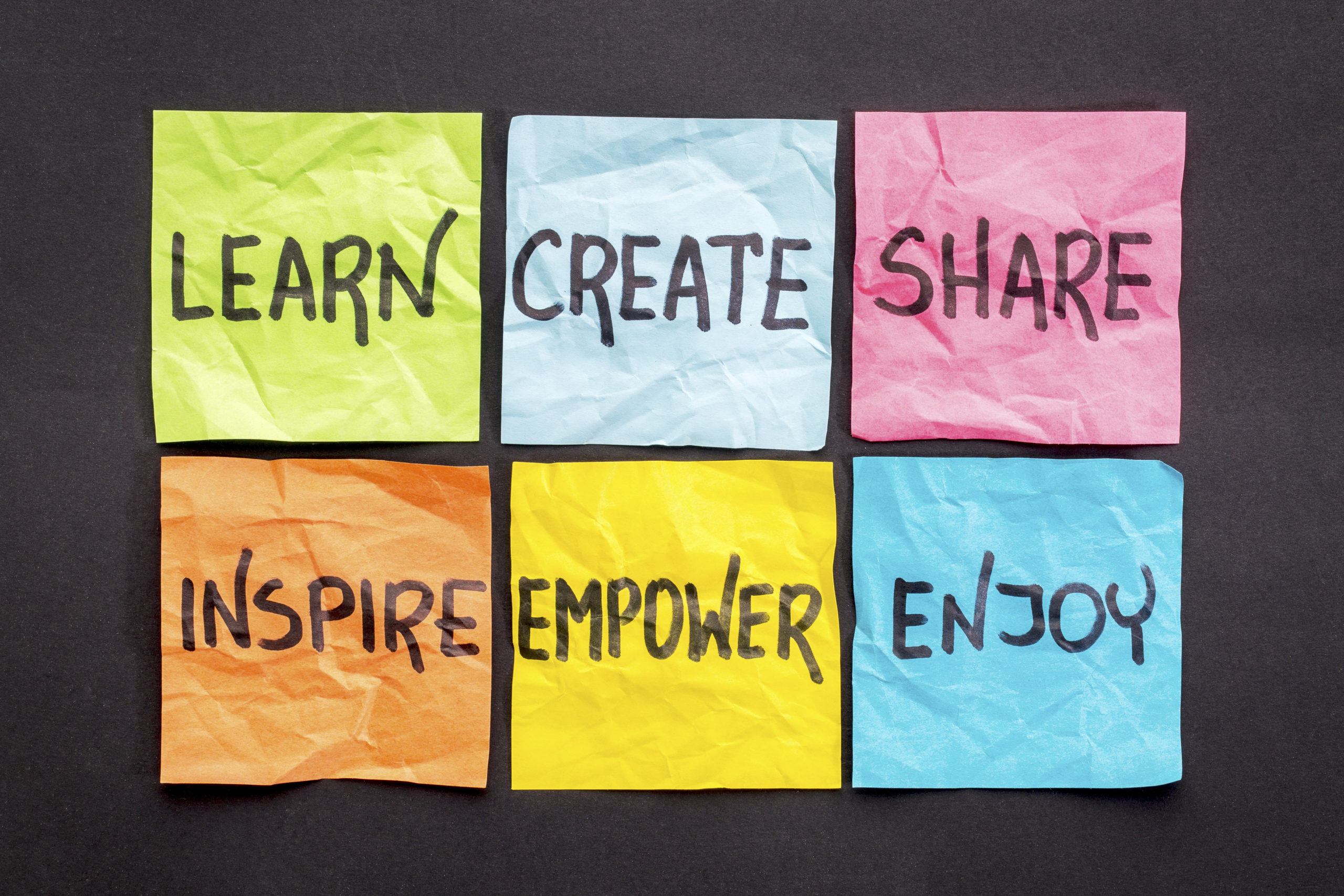 learn, create, share, inspire, empower and enjoy - set of sticky notes with inspirational words and smiley