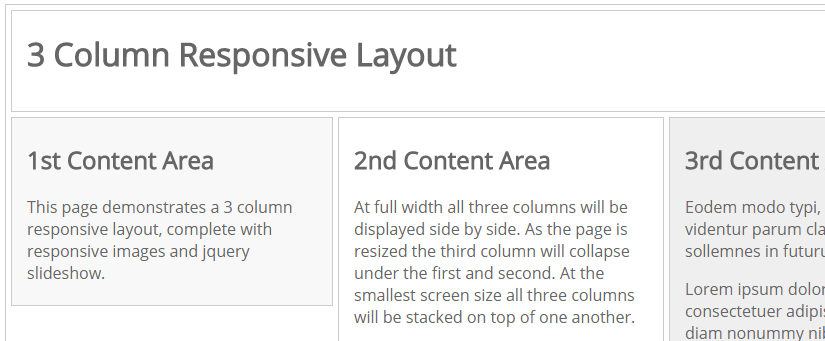 Three column responsive layout example