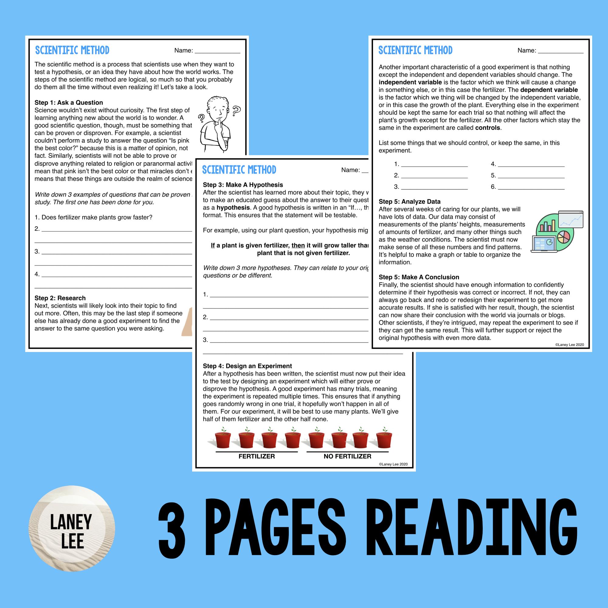 Scientific Method Guided Reading Worksheet