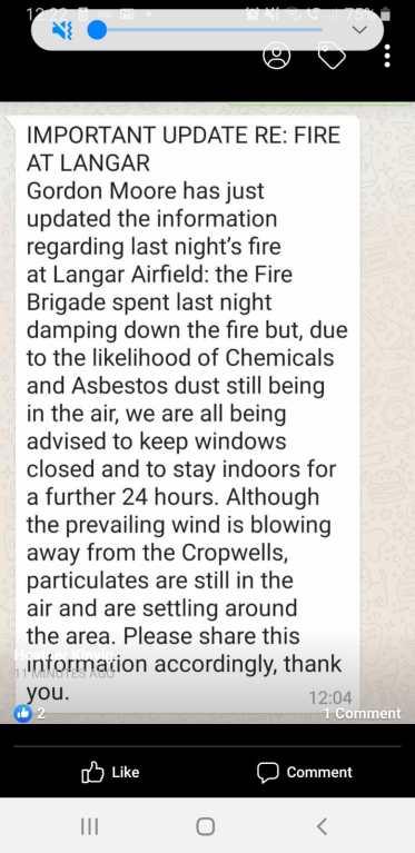 Notice regarding fire at Langar airfield