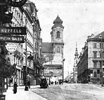 Blick auf die Kirche St. Josef ob der Laimgrube von der Mariahilferstraße