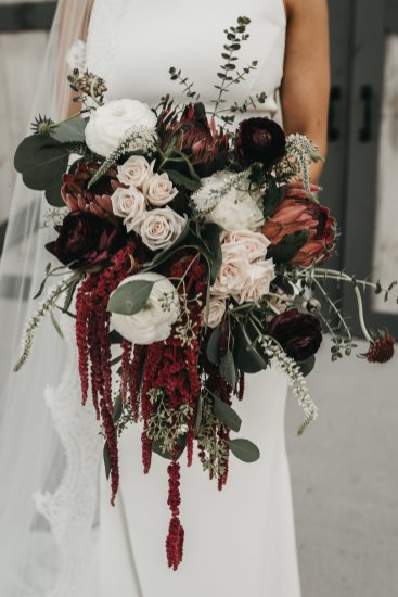 Burgundy Cascading Bridal Bouquet, Protea, Lang Floral Designs, Chattanooga Wedding
