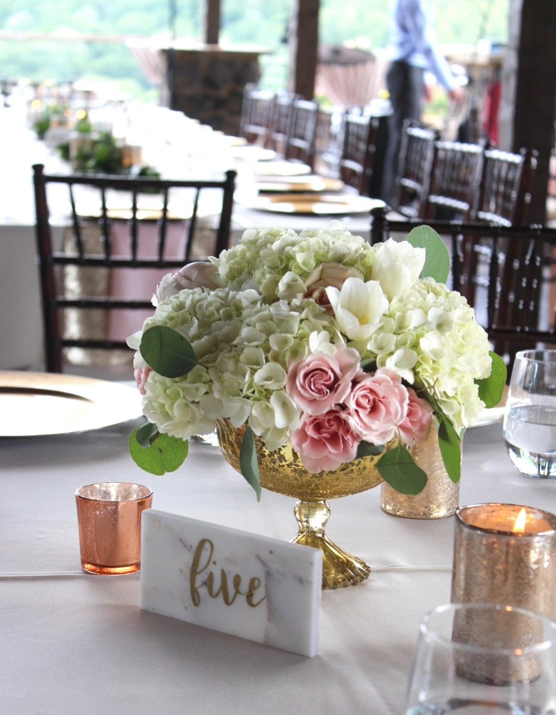 Wedding Decor Rentals, Gold Compote, Lang Floral Designs, Chattanooga Wedding Decor