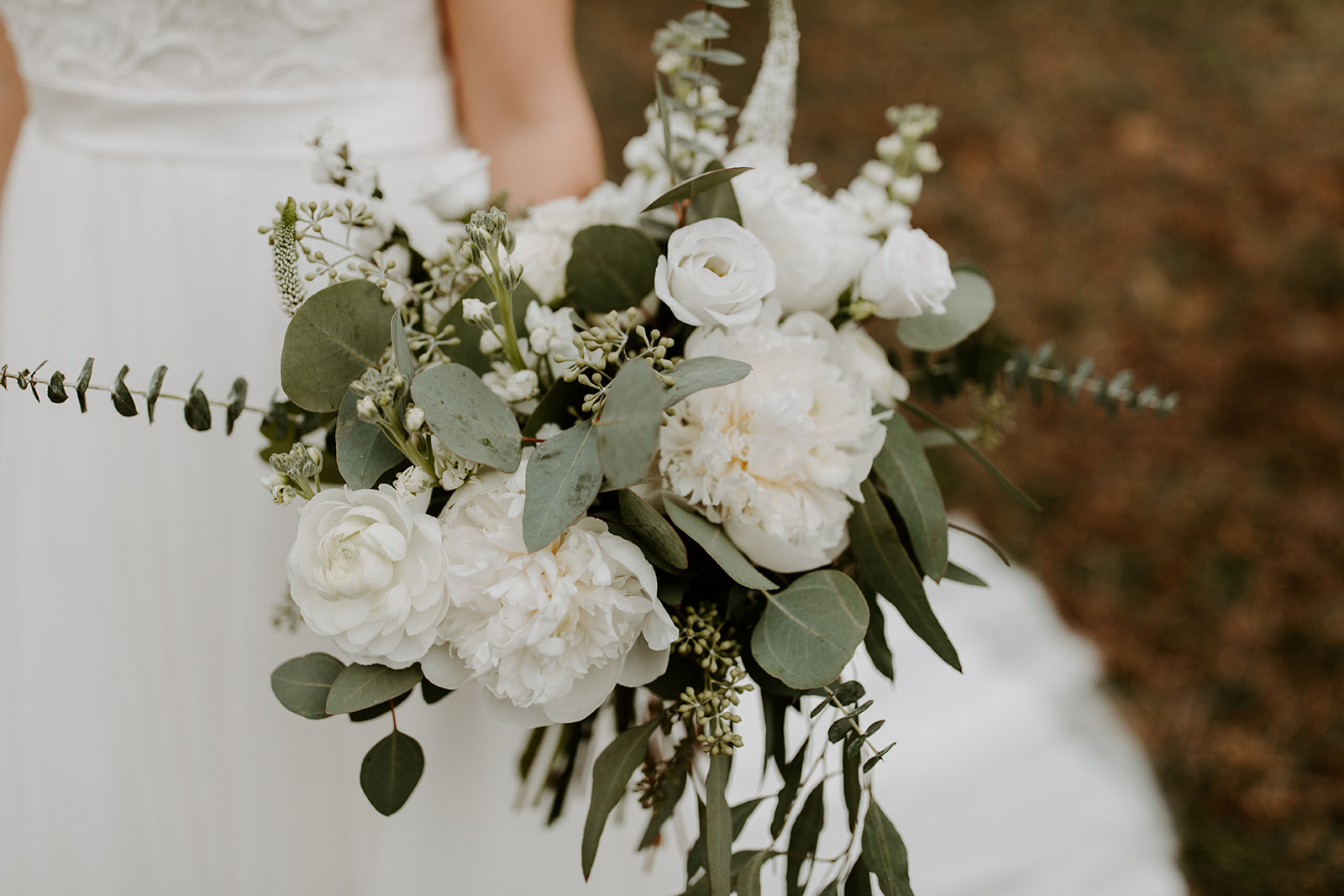 White Peonies and Eucalyptus, Wedding Flowers, Chattanooga Wedding Florist, Lang Floral Designs
