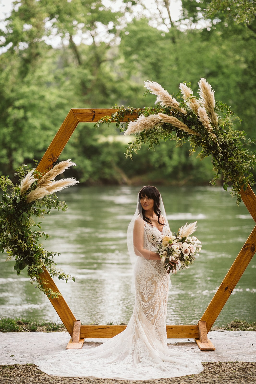 Pampas Grass Wedding Hexagon Arch, Lang Floral Designs, Chattanooga Wedding Florist and Day-of Coordinator