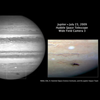 CItra Jupiter yang diambil saat tabrakan misterius bulan Juli 2009. Kredit : Hubble