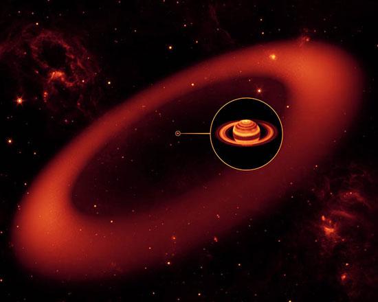 Cincin Saturnus yang baru dan yang terbesar. kredit : NASA / JPL-Caltech