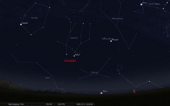 Hujan meteor Geminid akan mengalami puncak pada taggal 13-14 Desember 2009.
