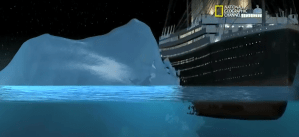 RMS Titanic saat bersinggungan dengan gunung es, menurut simulasi James cameron dkk berdasarkan data Woods Hole Oceanographic Institute dan RMS Titanic Inc. Sumber : National Geographic, 2012.