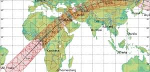 Peta kawasan yang bisa menikmati Transit Asteroid 2012 KT42. Sumber : remanzacco Observatory, 2012.
