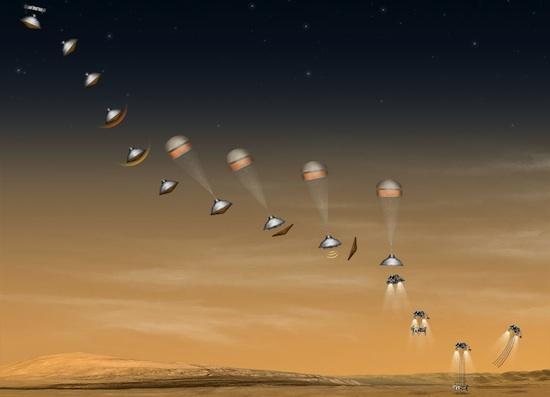Drama pendaratan Curiosity di Mars. Kredit : NASA