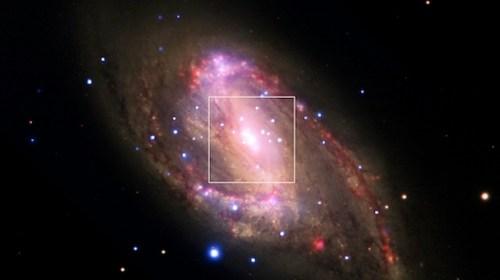 NGC 3627, salah satu dari galaksi dalam Leo Triplet. Kredit: NASA/CXC/Ohio State Univ./C.Grier et al./STScI, ESO/WFI/JPL-Caltec