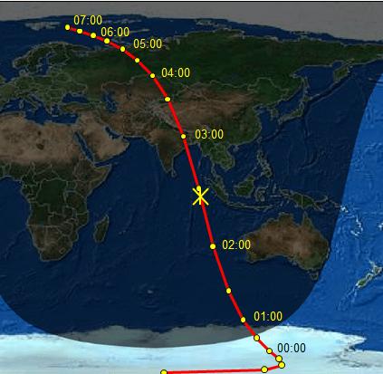 Gambar 3. Peta proyeksi titik perlintasan asteroid 2012 DA14 di permukaan Bumi Selama 16 Februari 2013 sejak pukul 00:00 WIB hingga 07:00 WIB. Tanda silang merupakan titik proyeksi saat asteroid 2012 DA14 mencapai jarak terdekat dengan Bumi. Bagian Bumi yang gelap menandakan malam, sementara yang terang menunjukkan siang. Situasi siang dan malam dipaskan dengan pukul 02:26 WIB, yakni saat asteroid 2012 DA14 mencapai titik terdekat dengan Bumi.  Sumber: Sudibyo, 2013 dengan data dari Heavens-Above.com