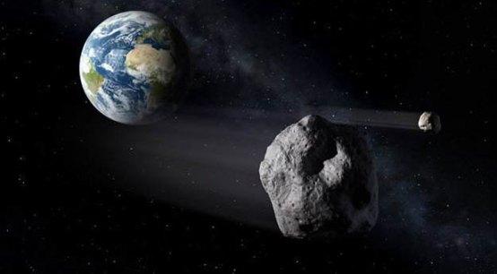 Ilustrasi asteroid yang berpapasan dekat dengan Bumi