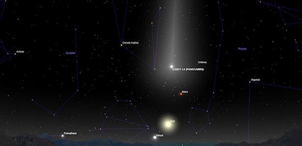 Komet C/2011 L4 PANSTARRS saat di Perihelion. Kredit: Sky Safari Pro