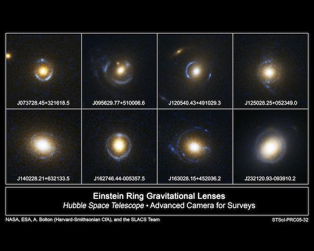 Contoh-contoh cincin Einstein yang berhasil ditangkap oleh Hubble Space Telescope (HST). Dikutip dari Wikipedia.
