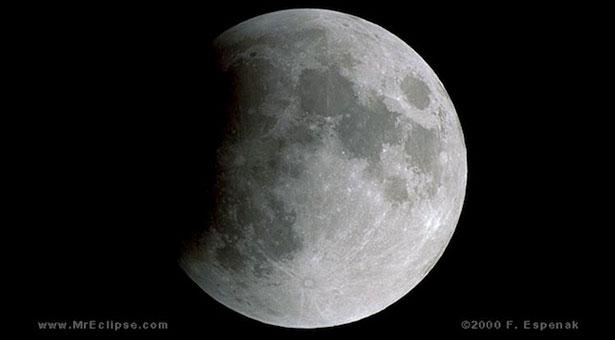 gerhana Bulan Sebagian tahun 2000. Kredit: Fred Espenak