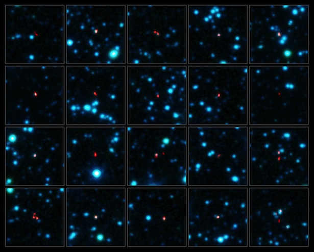 Galaksi-galaksi yang melahirkan bintang dengan cepat sekali dalam waktu singkat. Kredit: ALMA (ESO/NAOJ/NRAO), APEX (MPIfR/ESO/OSO), J. Hodge dkk., A. Weiss dkk., NASA Spitzer Science Center.